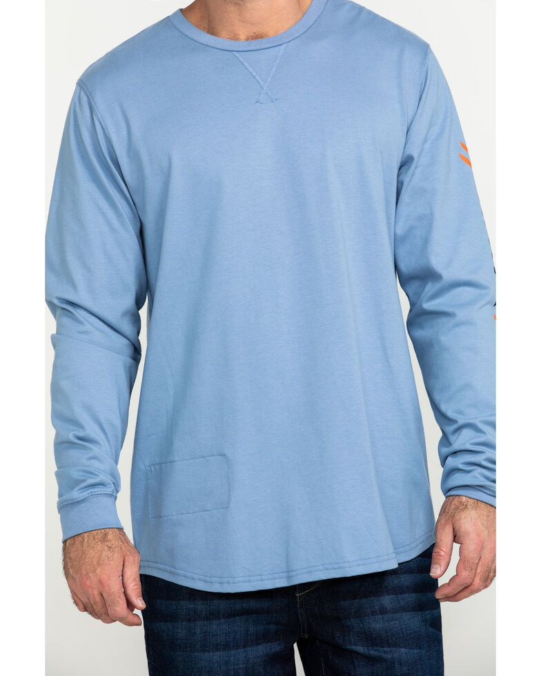 Hawx Men's Logo Long Sleeve Work T-Shirt, Blue, hi-res