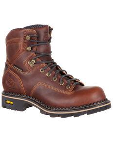 Georgia Boot Men's Comfort Core Low Heel Waterproof Logger Boots - Soft Toe, Dark Brown, hi-res