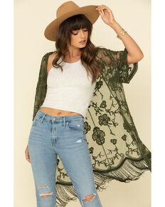 Jody of California Women's Lace Fringe Hem Kimono , Olive, hi-res