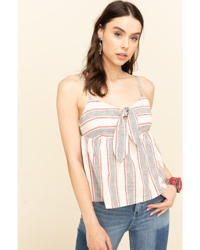 Shyanne Women's Stripe Tie Front Sleeveless Top, White, hi-res