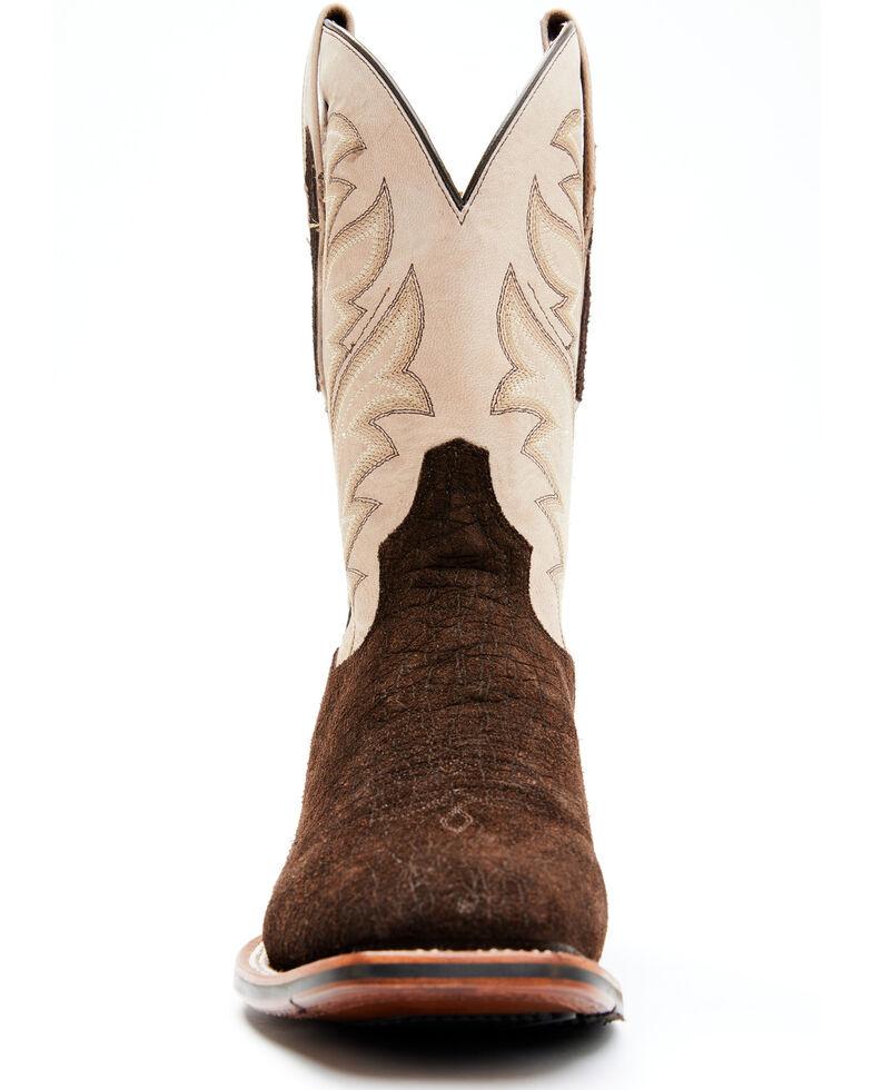 Dan Post Men's Hippo Print Western Boots - Wide Square Toe, Chocolate, hi-res
