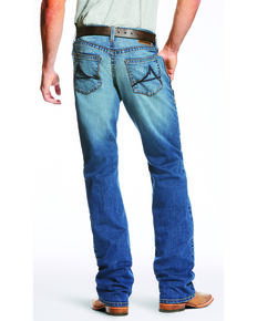 Ariat Men's Blue M5 Slim Fit Low Rise TekStretch Bootcut Jeans, Blue, hi-res
