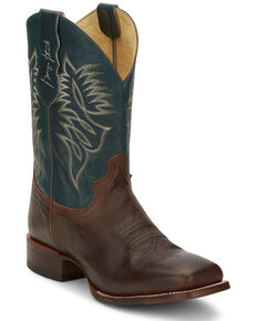 Justin Men's Check Yes Western Boots - Wide Square Toe, Brown, hi-res