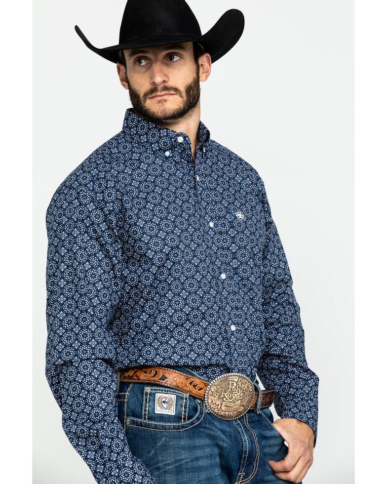 Ariat Men's Tallman Geo Print Long Sleeve Western Shirt , Blue, hi-res