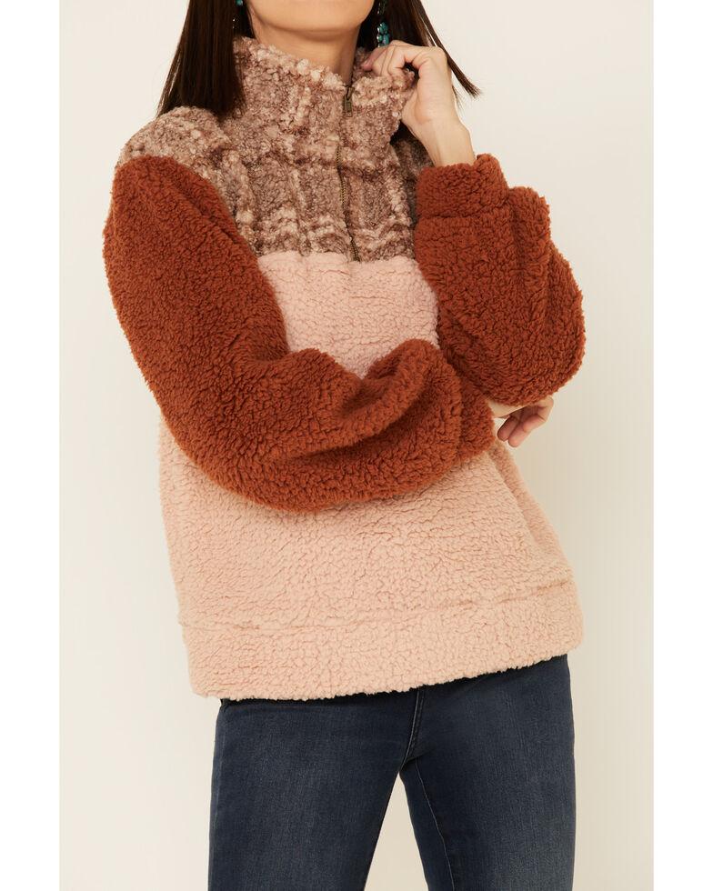 Hem & Thread Women's Multi Color Block Plaid Fleece 1/4 Zip Pullover , Multi, hi-res