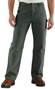Carhartt Flannel-Lined Washed Duck Dungaree Work Pants, Moss, hi-res