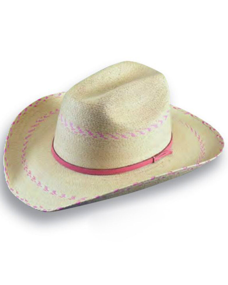 Atwood Kids' Pink Pinto Palm Cowgirl Hat, Natural, hi-res