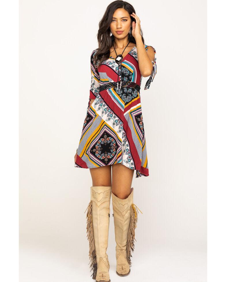 Shyanne Women's Floral Patchwork Cold Shoulder Dress, Multi, hi-res