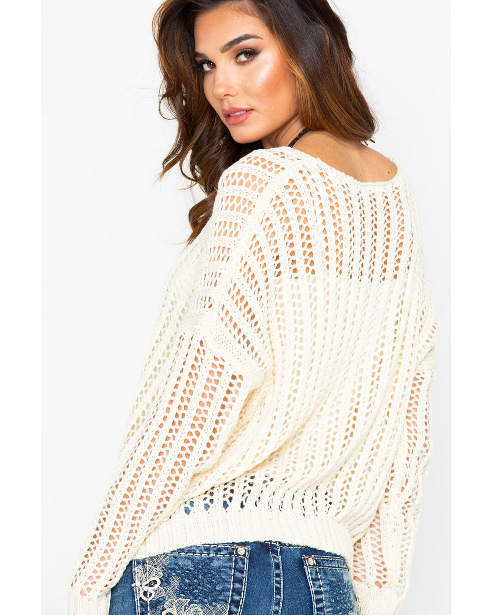 Rag Poets Women's Open Front Knit Pullover Sweater , Cream, hi-res