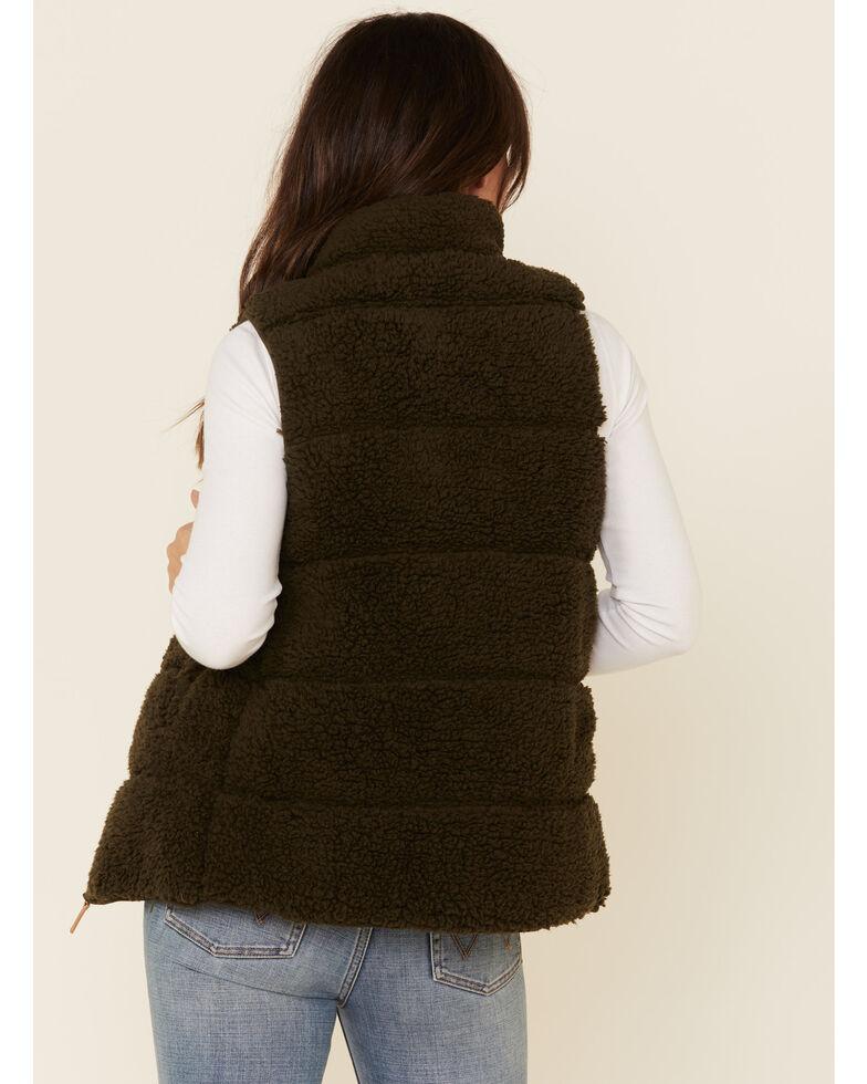 PJ Salvage Women's Cozy Quilted Sherpa Zip-Up Vest , Olive, hi-res