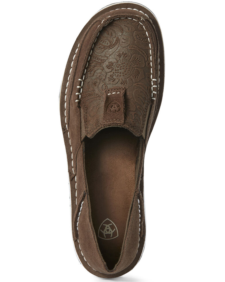 Ariat Women's Floral Embossed Cruiser Shoes - Moc Toe, Brown, hi-res