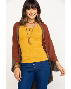 White Label by Panhandle Women's Color Block Cocoon Cardigan Sweater, Rust Copper, hi-res