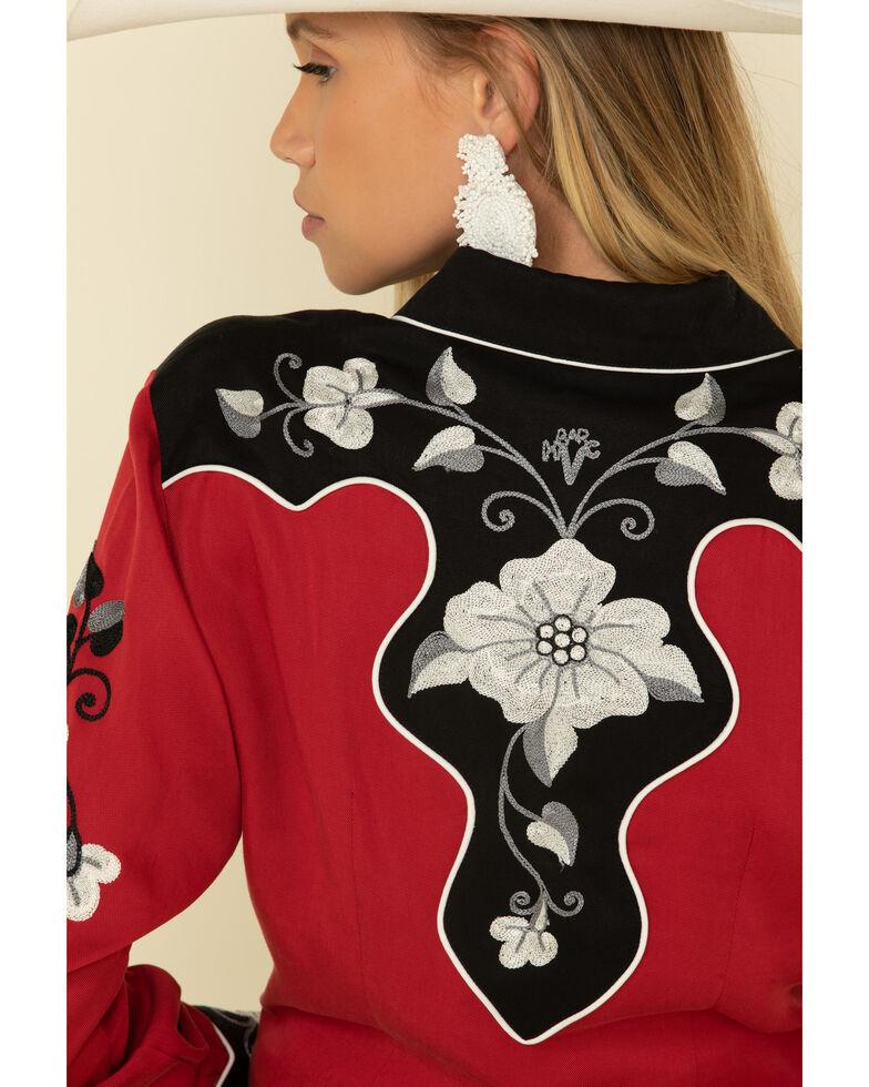 H Bar C Women's Red Santa Ana Long Sleeve Western Shirt, Red, hi-res