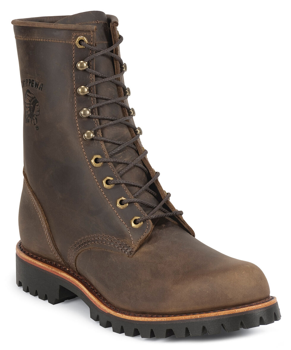 """Chippewa Lug Sole 8"""" Lace-Up Work Boots - Round Toe, Chocolate, hi-res"""