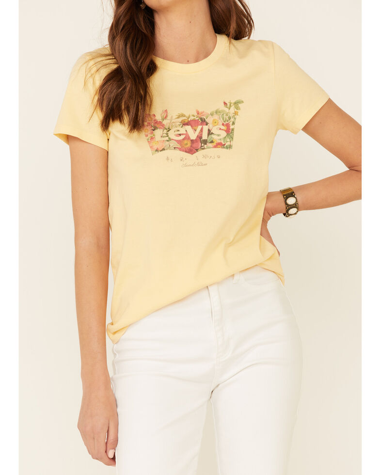 Levi's Women's Yellow Floral Batwing Logo Short Sleeve Tee , Yellow, hi-res