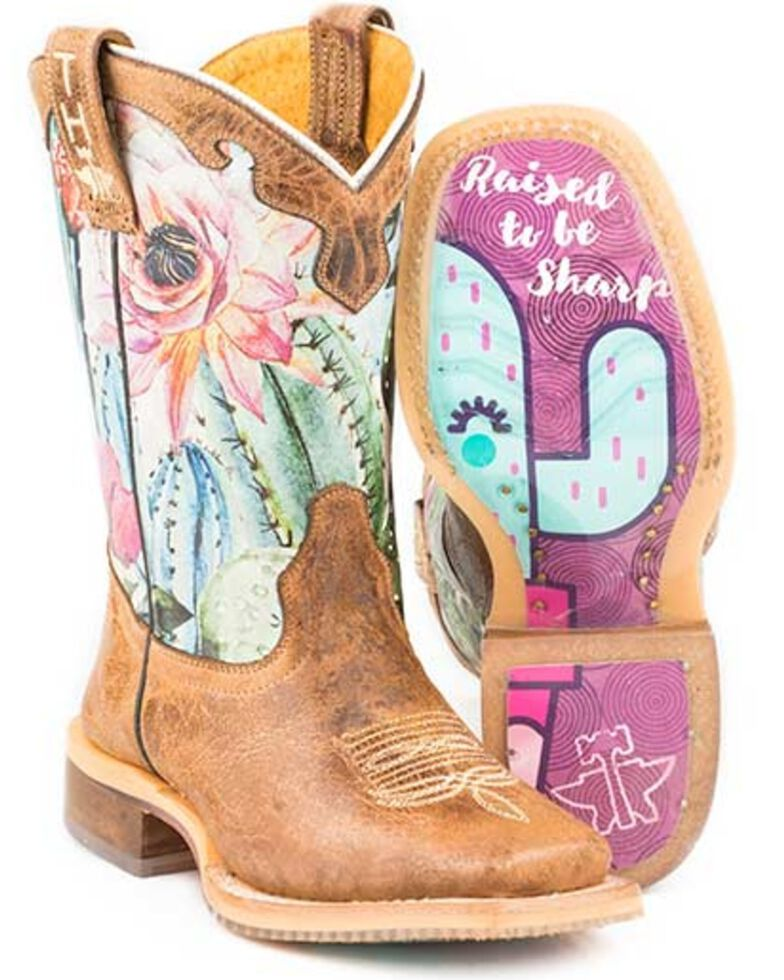 Tin Haul Girls' Cactilicious Embroidered Western Boots - Square Toe, Brown, hi-res