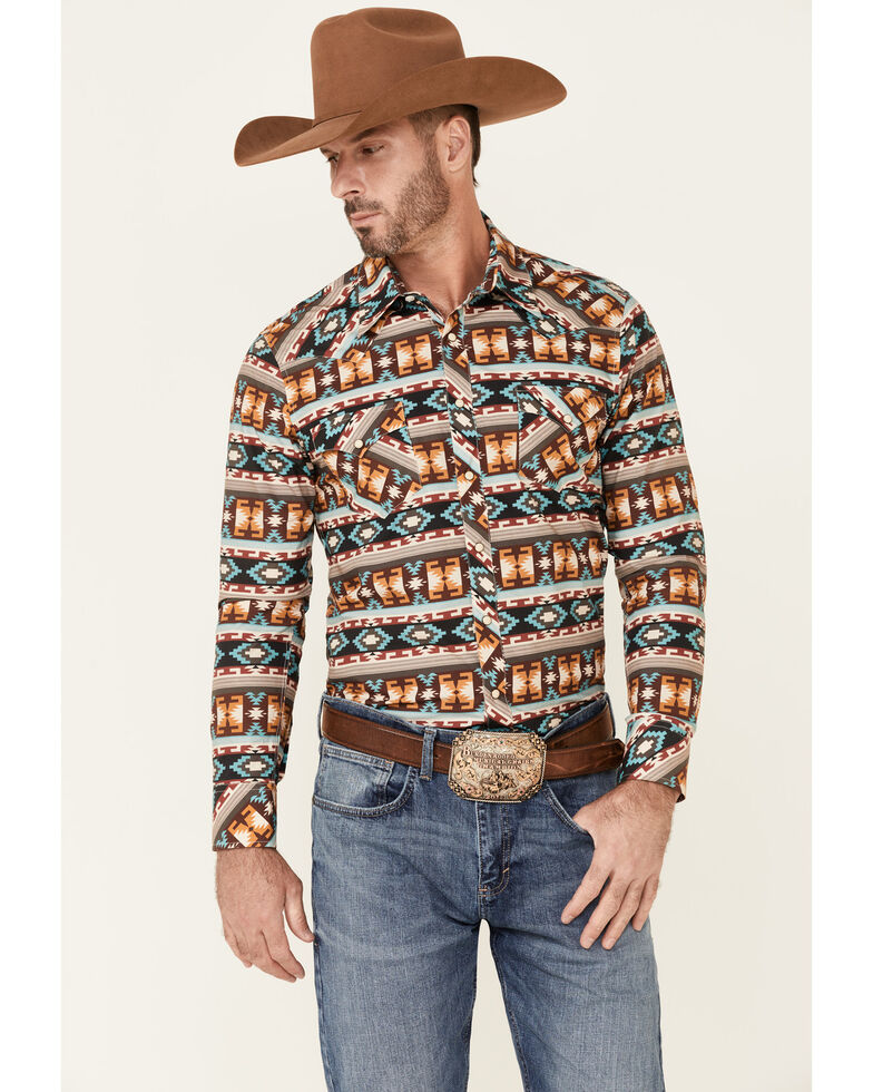 Dale Brisby Men's All-Over Aztec Stripe Long Sleeve Snap Western Shirt , Brown, hi-res