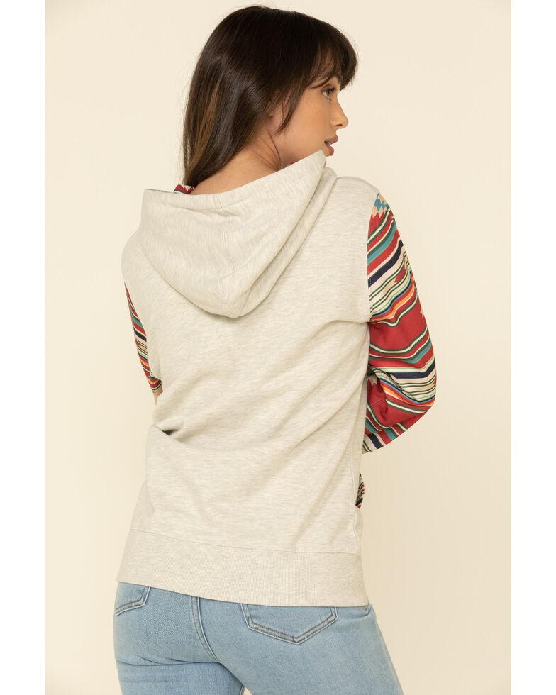 HOOey Women's Oatmeal Serape Sleeve Hooded Sweatshirt, Oatmeal, hi-res