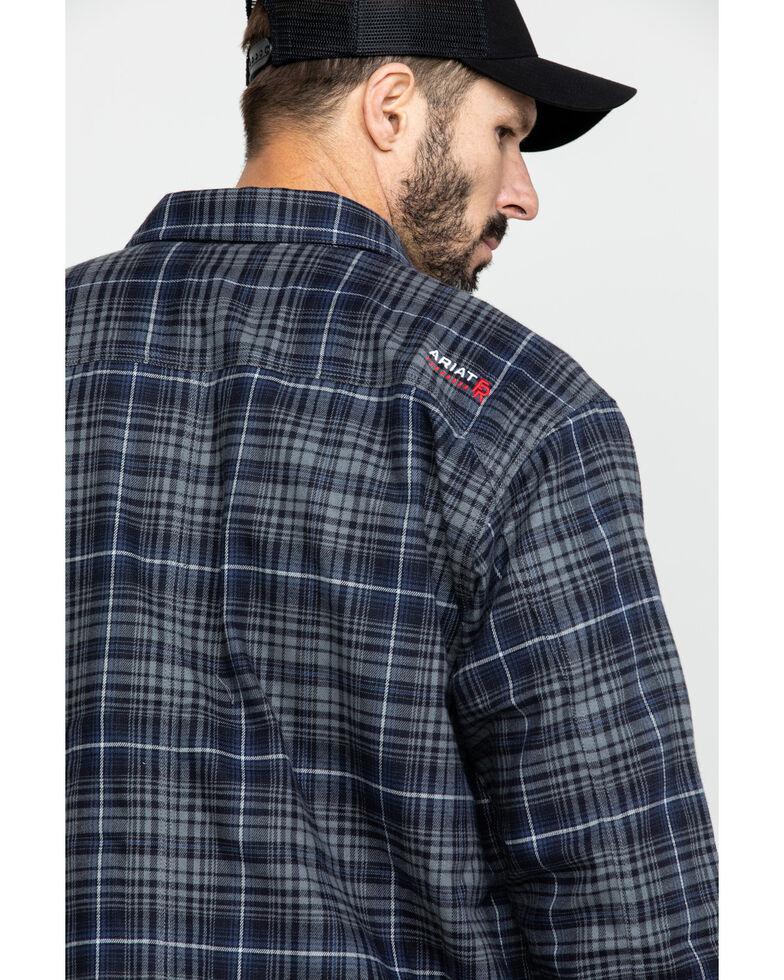 Ariat Men's Grey FR Monument Plaid Work Shirt Jacket , Grey, hi-res