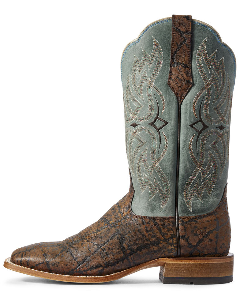 Ariat Men's Bobtail Elephant Print Western Boots - Wide Square Toe, Brown, hi-res