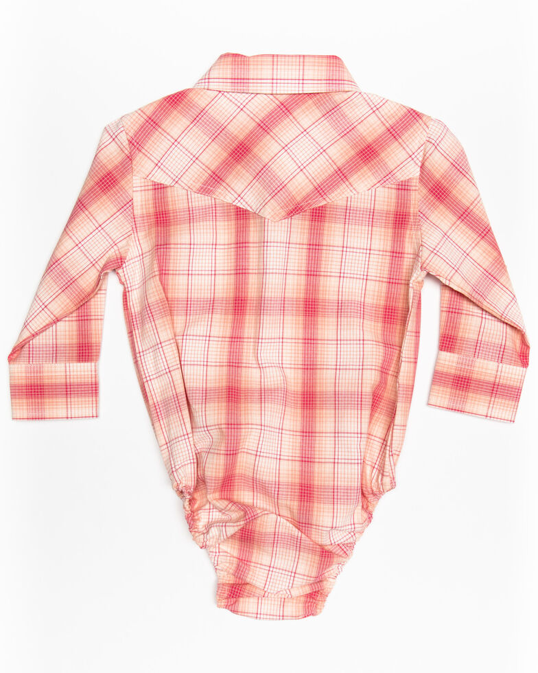 Shyanne Infant Girls' Plaid Embroidered Long Sleeve Western Onesie, Burgundy, hi-res