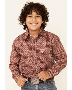 Cowboy Hardware Boys' Rust Geo Print Long Sleeve Snap Western Shirt , Rust Copper, hi-res