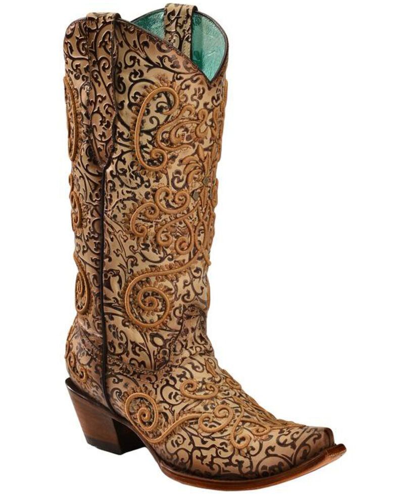 Corral Women's Natural Embroidered Chameleon Sun Boots - Snip Toe, Natural, hi-res