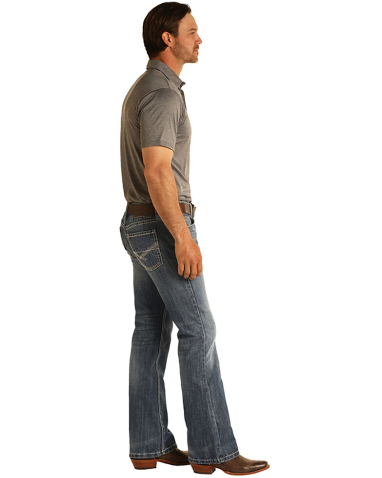 Rock & Roll Denim Men's Pistol Medium Wash Regular Bootcut Jeans, Blue, hi-res