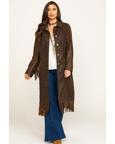 Tasha Polizzi Women's Chocolate Layton Leather Coat, Brown, hi-res