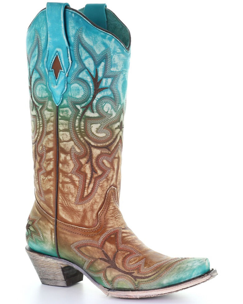 Corral Women's Turquoise Embroidery Western Boots - Snip Toe, Turquoise, hi-res