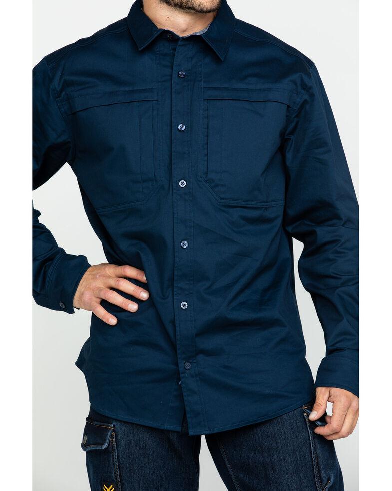 Hawx Men's Navy Stretch Twill Long Sleeve Work Shirt , Navy, hi-res