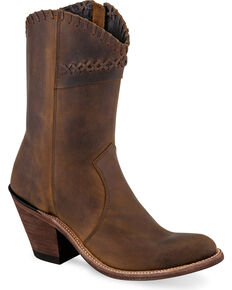 Old West Women's Brown Cross Stitch Cowgirl Boots - Round Toe, Brown, hi-res
