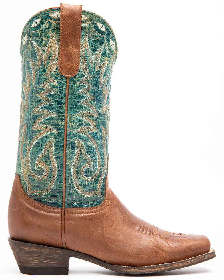 Idyllwind Women's Roped In Performance Western Boots - Narrow Square Toe, Brown/blue, hi-res