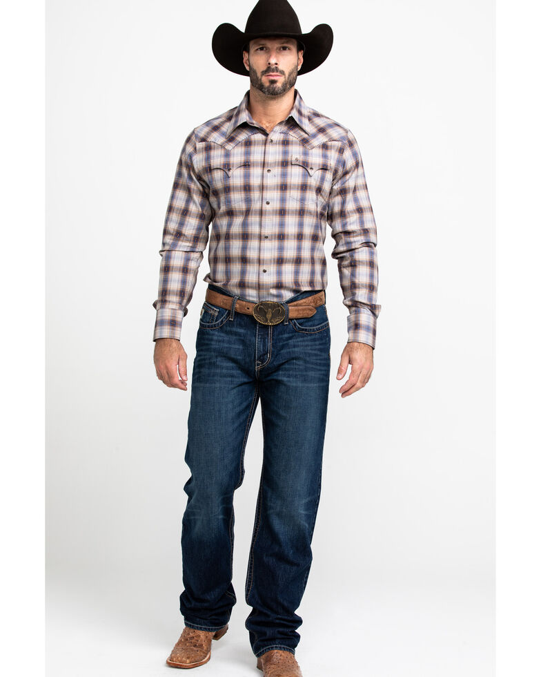 Stetson Men's Dobby Med Plaid Long Sleeve Western Shirt , Brown, hi-res