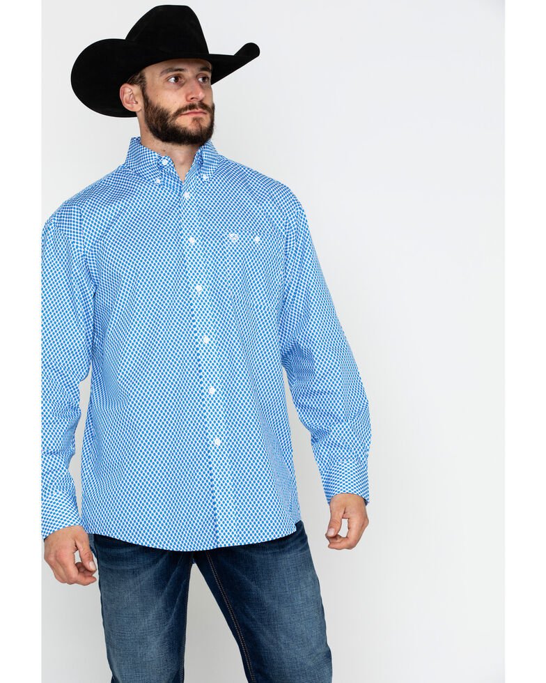 George Strait by Wrangler Blue Geo Print Long Sleeve Western Shirt , Blue/white, hi-res