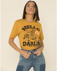 Country Deep Women's Mustard Hello Darlin Graphic Distressed Tee , Mustard, hi-res