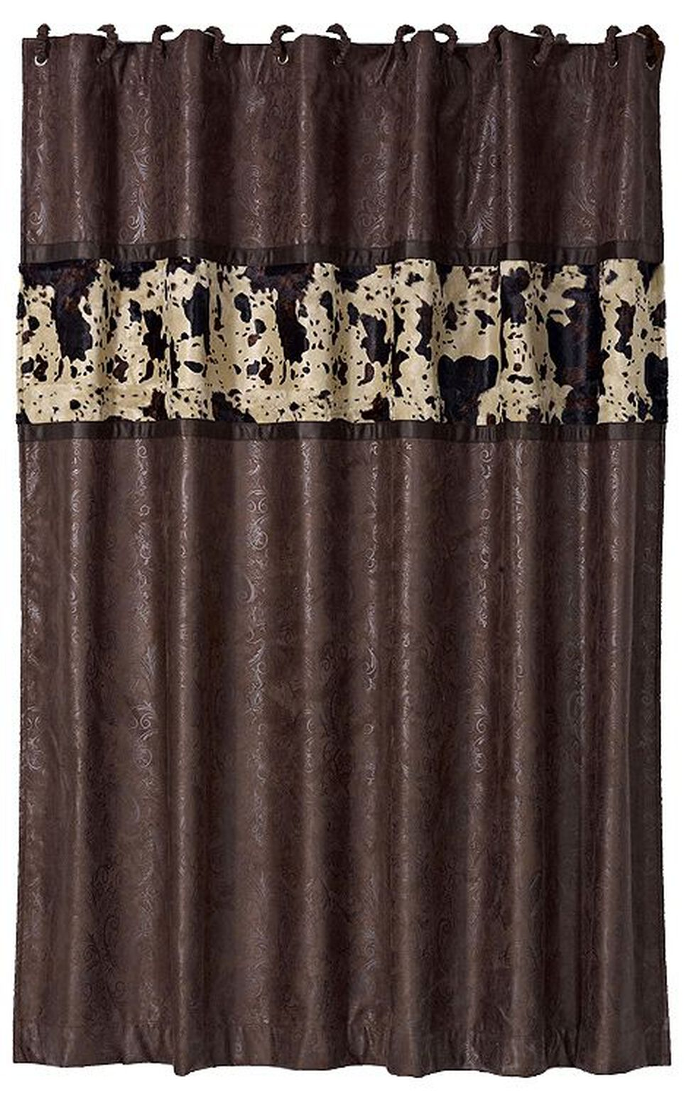 HiEnd Accents Caldwell Cowhide Shower Curtain, Multi, hi-res