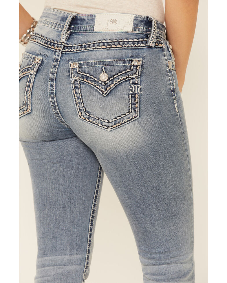 Miss Me Women's Big Border Stitch Bootcut Jeans, Blue, hi-res