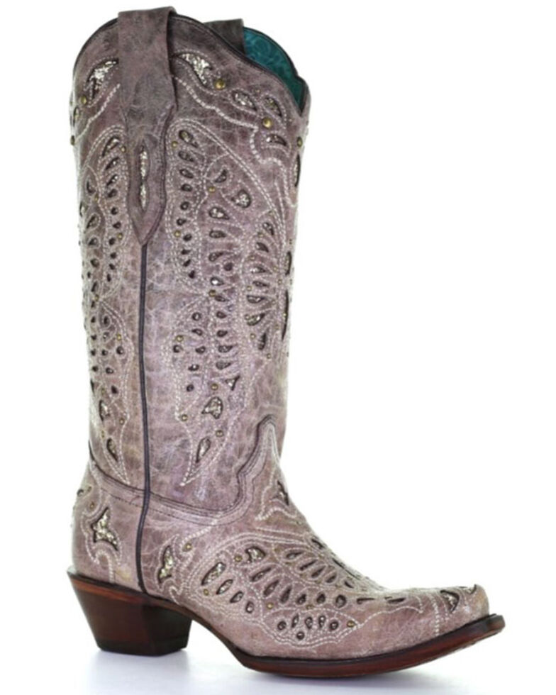Corral Women's Butterfly Glitter Western Boots - Snip Toe, Brown, hi-res