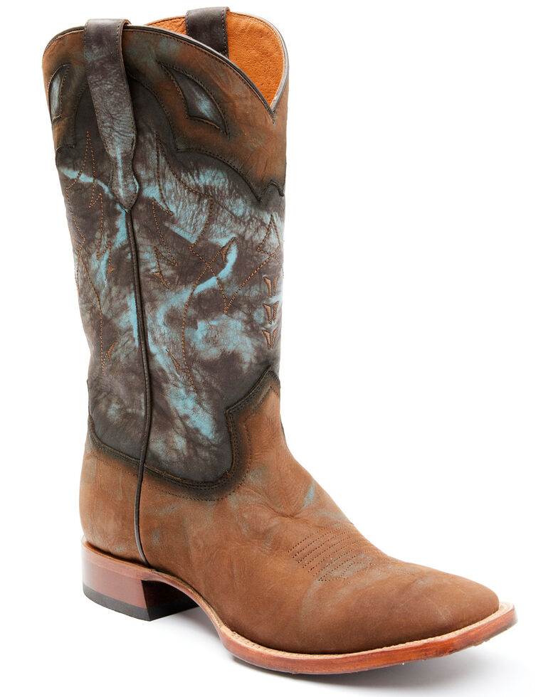 Moonshine Spirit Men's Tully Turquoise Tie-Dye Western Boots - Square Toe , Turquoise, hi-res