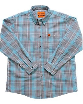 Wrangler Men's Flame-Resistant Plaid Shirt - Big , Turquoise, hi-res
