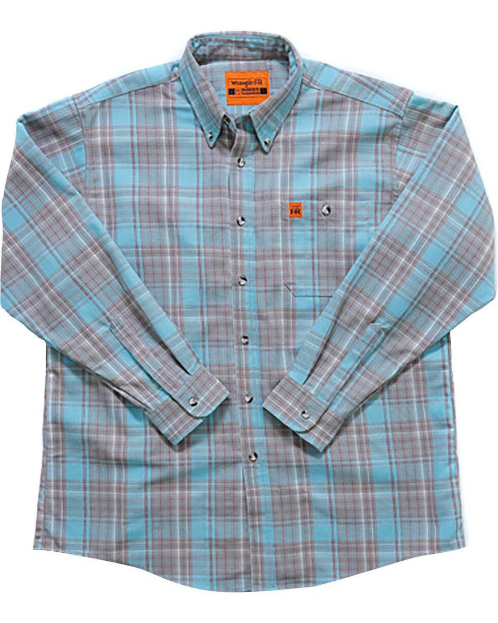 Wrangler Men's Flame-Resistant Plaid Shirt - Big , Turquoise, hi-res
