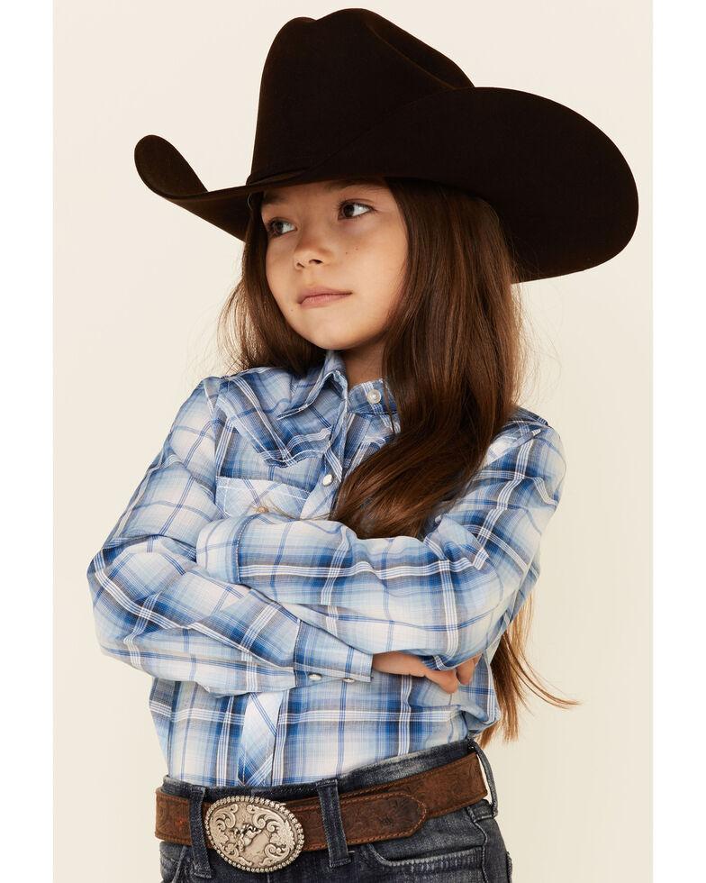 Ely Walker Girls' Blue & White Plaid Long Sleeve Snap Western Shirt , Blue, hi-res
