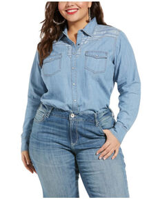 Ariat Women's Indigo R.E.A.L. Fierce Long Sleeve Shirt - Plus, Blue, hi-res