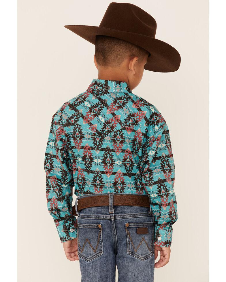 Rock & Roll Denim Boys' Teal Aztec Print Long Sleeve Snap Western Shirt , Teal, hi-res