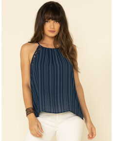 Ariat Women's Stripe Maya Tank Top , Navy, hi-res