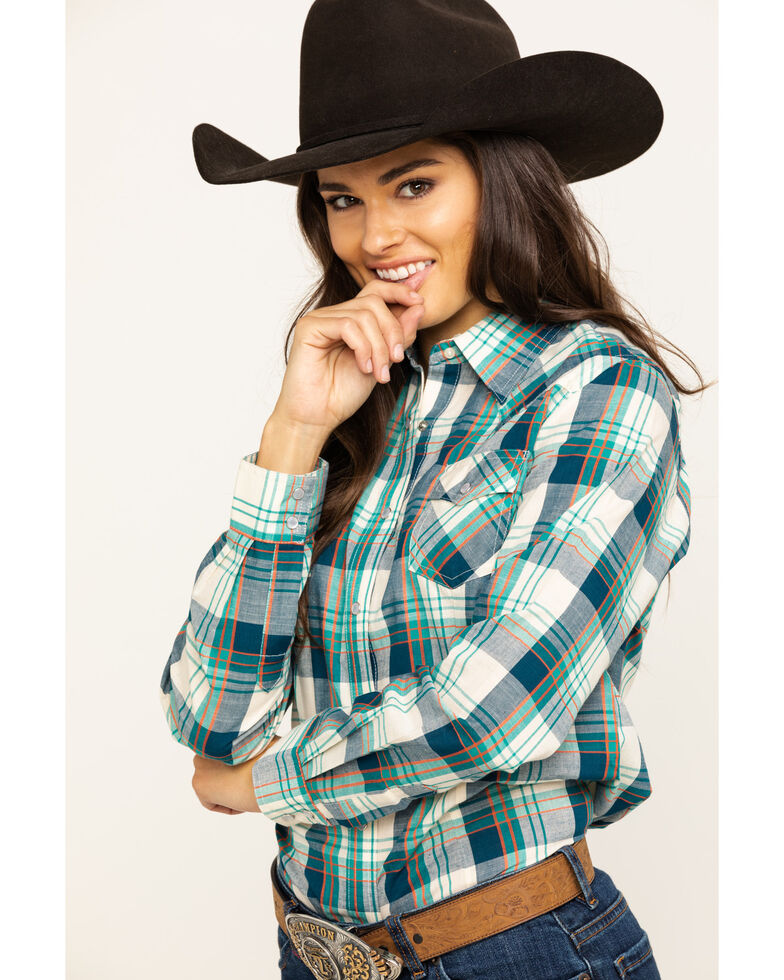 Wrangler Women's Plaid Snap Long Sleeve Western Shirt , Turquoise, hi-res