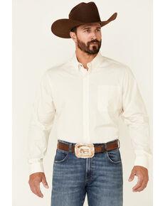Cinch Men's Modern Fit Solid Cream Long Sleeve Button-Down Western Shirt , Cream, hi-res
