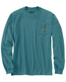 Carhartt Men's Heather Blue Spruce C Graphic Loose Fit Long Sleeve Work Pocket T-Shirt - Tall , Blue, hi-res