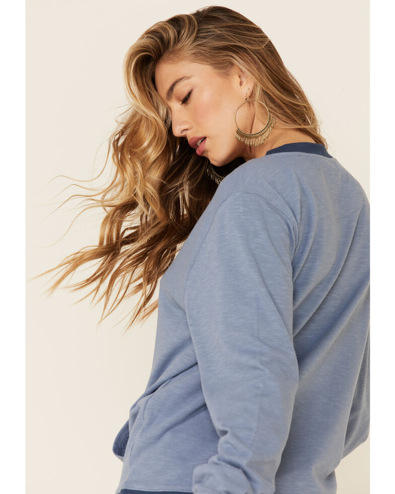 Kimes Ranch Women's Faded Denim Upside Crew Long Sleeve Pullover Top, Blue, hi-res